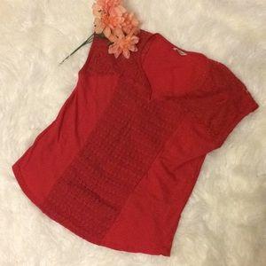 Lucky Brand Red Crochet Cotton Top 1X